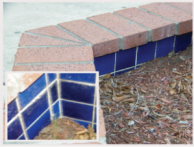 Colorful tiles inside the fountain